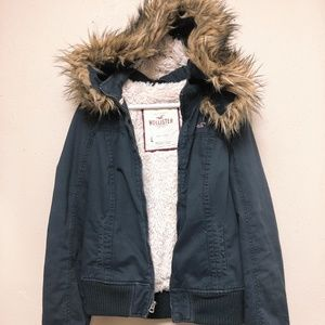 Faux Fur Hoodie Hollister sweater shirt L